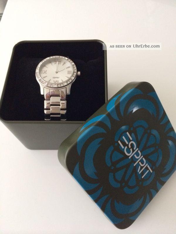 Esprit Schöne Damenuhr Silber Ziffernblatt Römische Zahlen,  Neuwertig Armbanduhren Bild