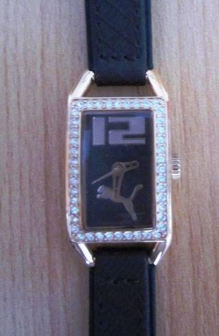 Puma Damenuhr Armbanduhr Analog Rosegold Braun Stein Strasssteine,  Batterie Leer Bild