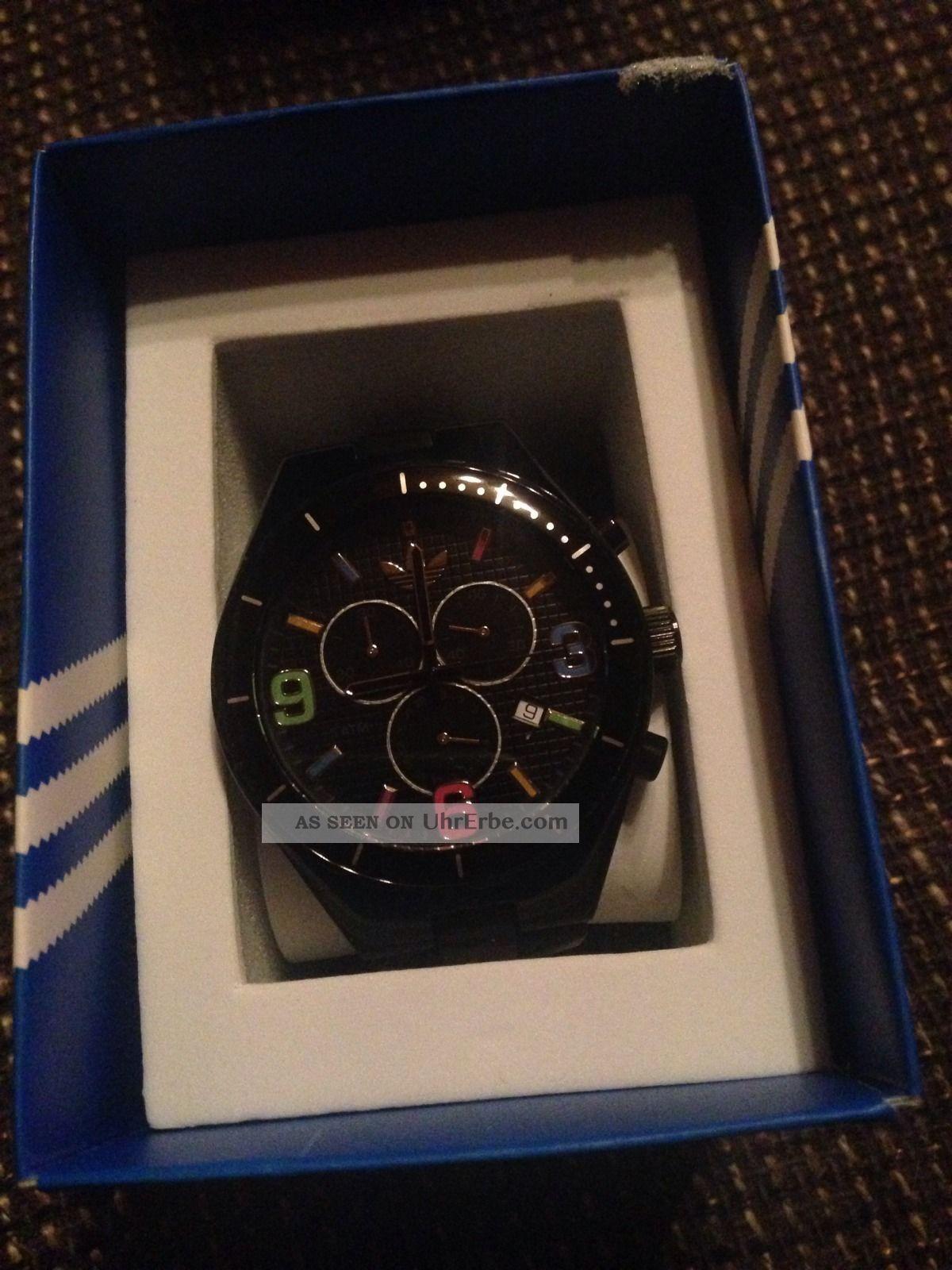Adidas Damen Uhr In Schwarz Mit Bunten Ziffern Armbanduhren Bild