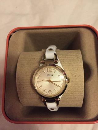 Fossil Uhr Es 3266 Leder Armband Weiß Gold Mit Mit Etikett Bild