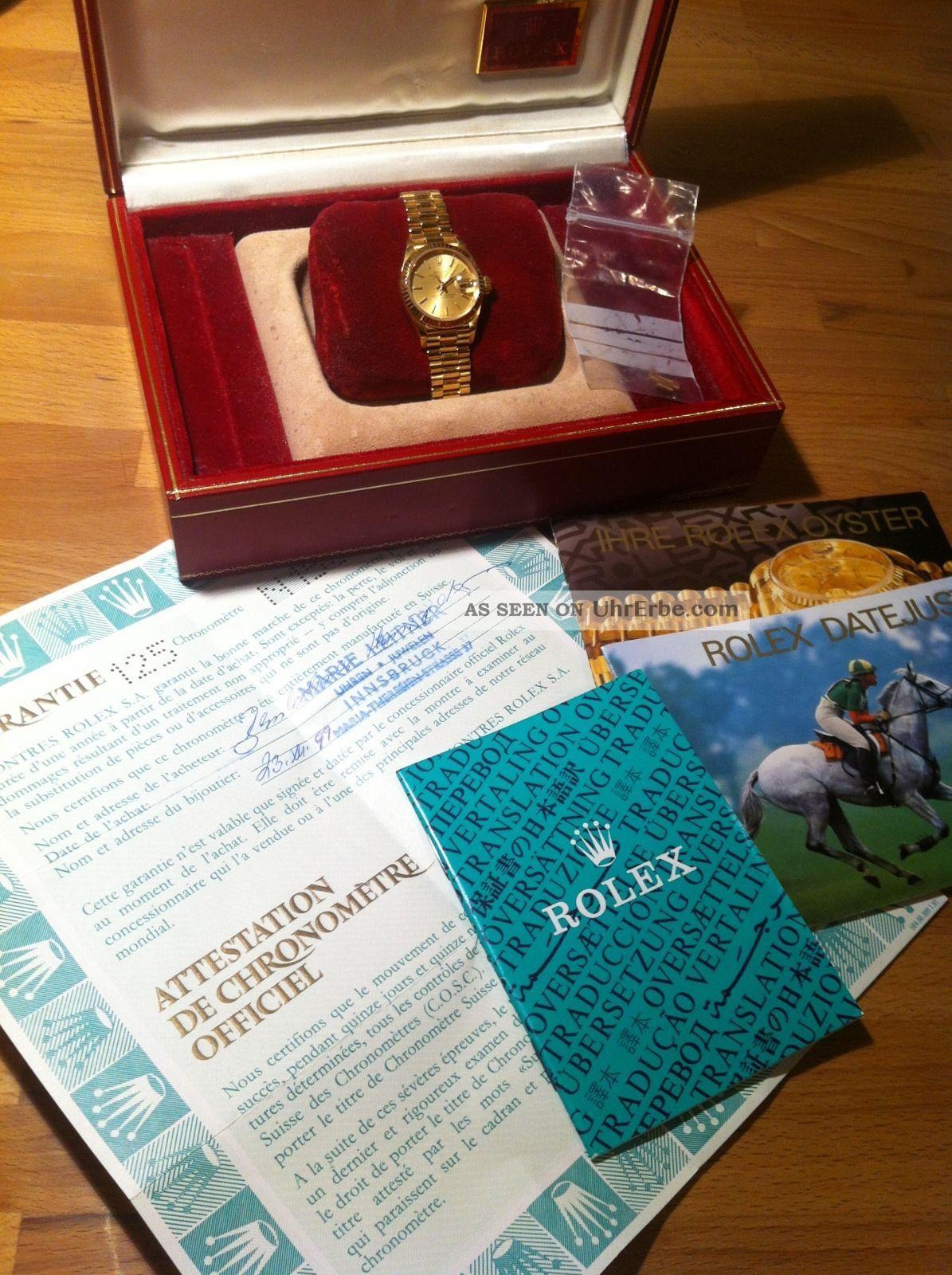 Rolex Oyster Perpetual Datejust Damen Armbanduhr 18 Karat Gold 69178 Armbanduhren Bild