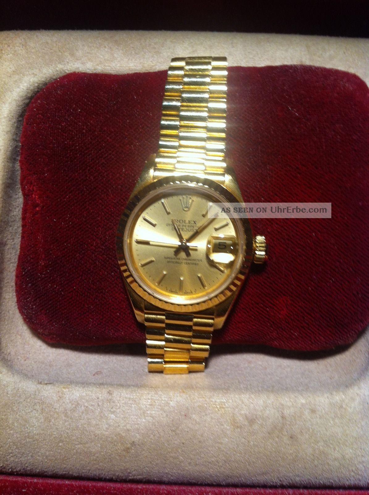 rolex oyster perpetual datejust damen armbanduhr 18 karat gold 69178. Black Bedroom Furniture Sets. Home Design Ideas