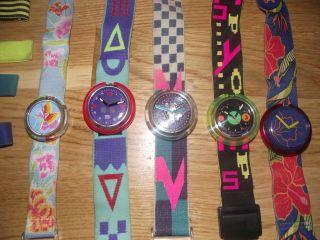 Pop Swatch Uhren 5 Stück Retro 90er Jahre Bunt Sammler Armbanduhr Bild