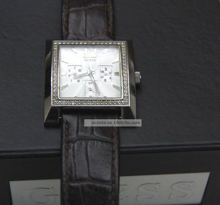 Guess Armbanduhr Chronograph Crystal I11021l1 Watch Uhr Kroko Look Leder Armband Armbanduhren Bild