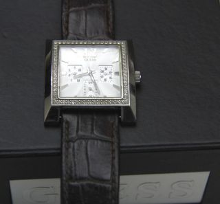 Guess Armbanduhr Chronograph Crystal I11021l1 Watch Uhr Kroko Look Leder Armband Bild