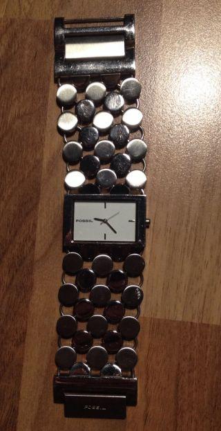 Fossil Damen Uhr Armbanduhr Silber Weiss Retro Bild