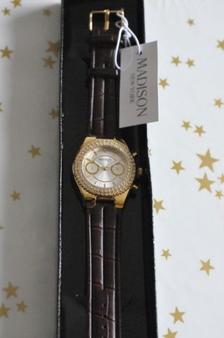 Madison York Uhr Armbanduhr Braun Goldfarben Diamant Bild