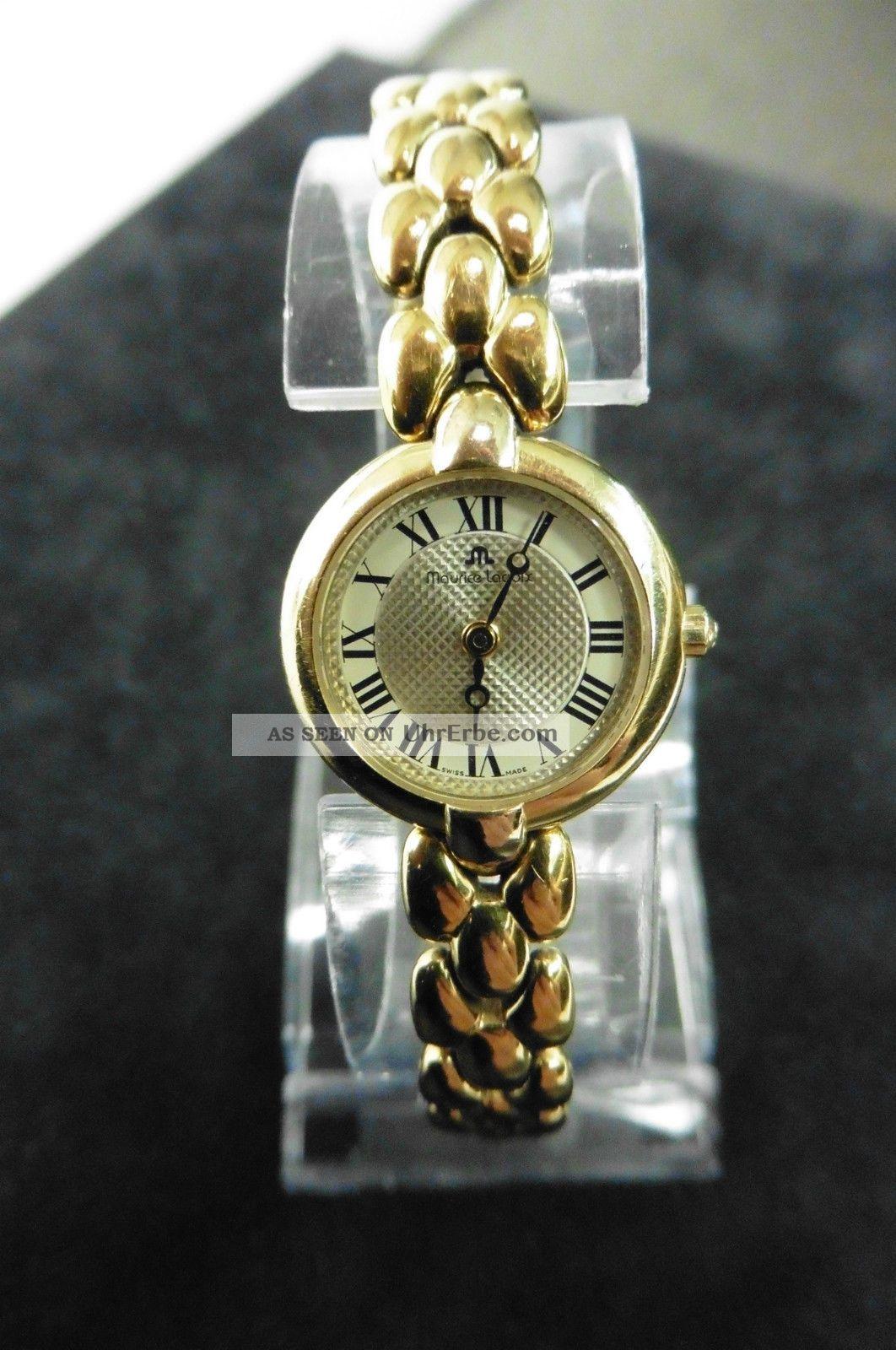 Maurice Lacroix Gold Dau Hau Damenuhr Luxus Klassisch Uhr Quarz Watch Vergoldet Armbanduhren Bild