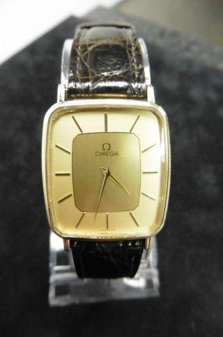 Omega Gold 585 14 Karat 1365 Dau Hau Herrenuhr Luxus Klassisch Uhr Quarz Watch Bild