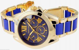 Große Gelbgold Damen Mädchenuhr Blue Goldgliederband Bluedesignt Goldwatch 2014 Bild