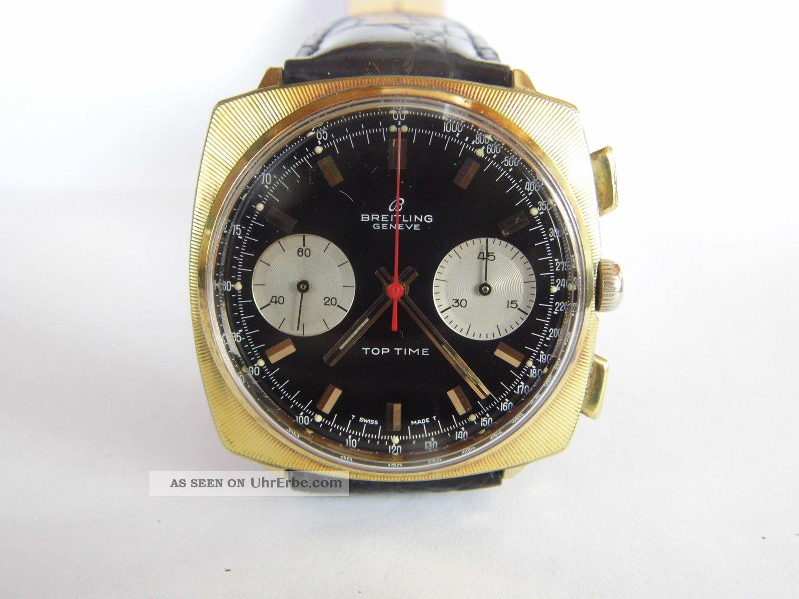 Herrenuhr,  Breitling Toptime Handaufzug,  Vergoldet,  Cal.  Valjoux 7733 Läuft Gut Armbanduhren Bild