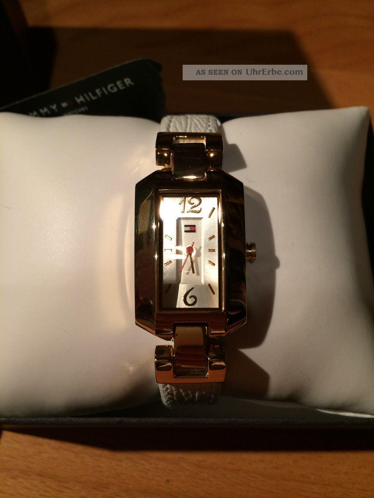 Tommy Hilfiger Uhr Gold Weißes Lederband Klassisch Armbanduhr Damen Armbanduhren Bild