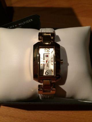 Tommy Hilfiger Uhr Gold Weißes Lederband Klassisch Armbanduhr Damen Bild