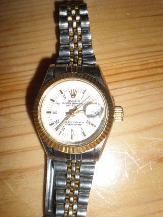 ♛ Rolex Lady Oyster Perpetual Date Just♛ Gold Stahl ♛ Damenarmbanduhr ♛ Bild