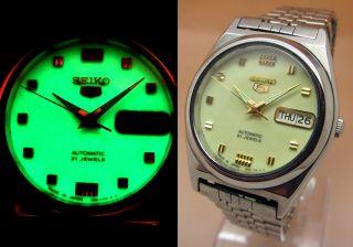 Seiko 5 Lumi Durchsichtig Automatik Uhr 7s26 - 0450 21 Jewels Datum&tag Bild