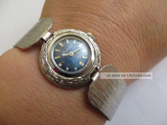 Bezaubernde Gub Glashütte Silber Damen Armbanduhr Mechanisch Läuft Gut Armbanduhren Bild