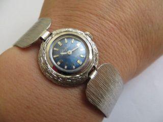Bezaubernde Gub Glashütte Silber Damen Armbanduhr Mechanisch Läuft Gut Bild
