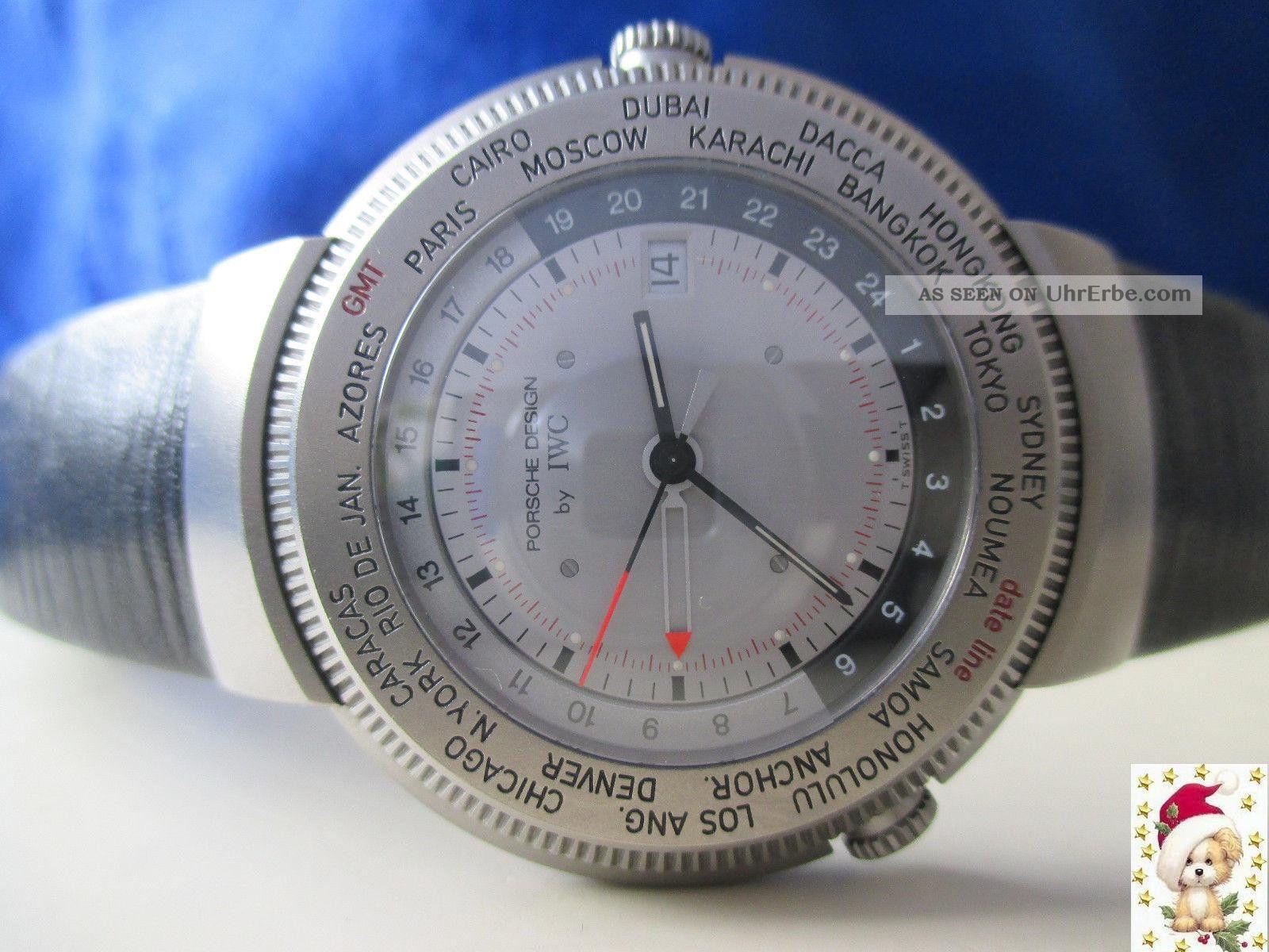 Sammleruhr Iwc Porsche Design World Timer Gmt In Titan Box Armbanduhren Bild
