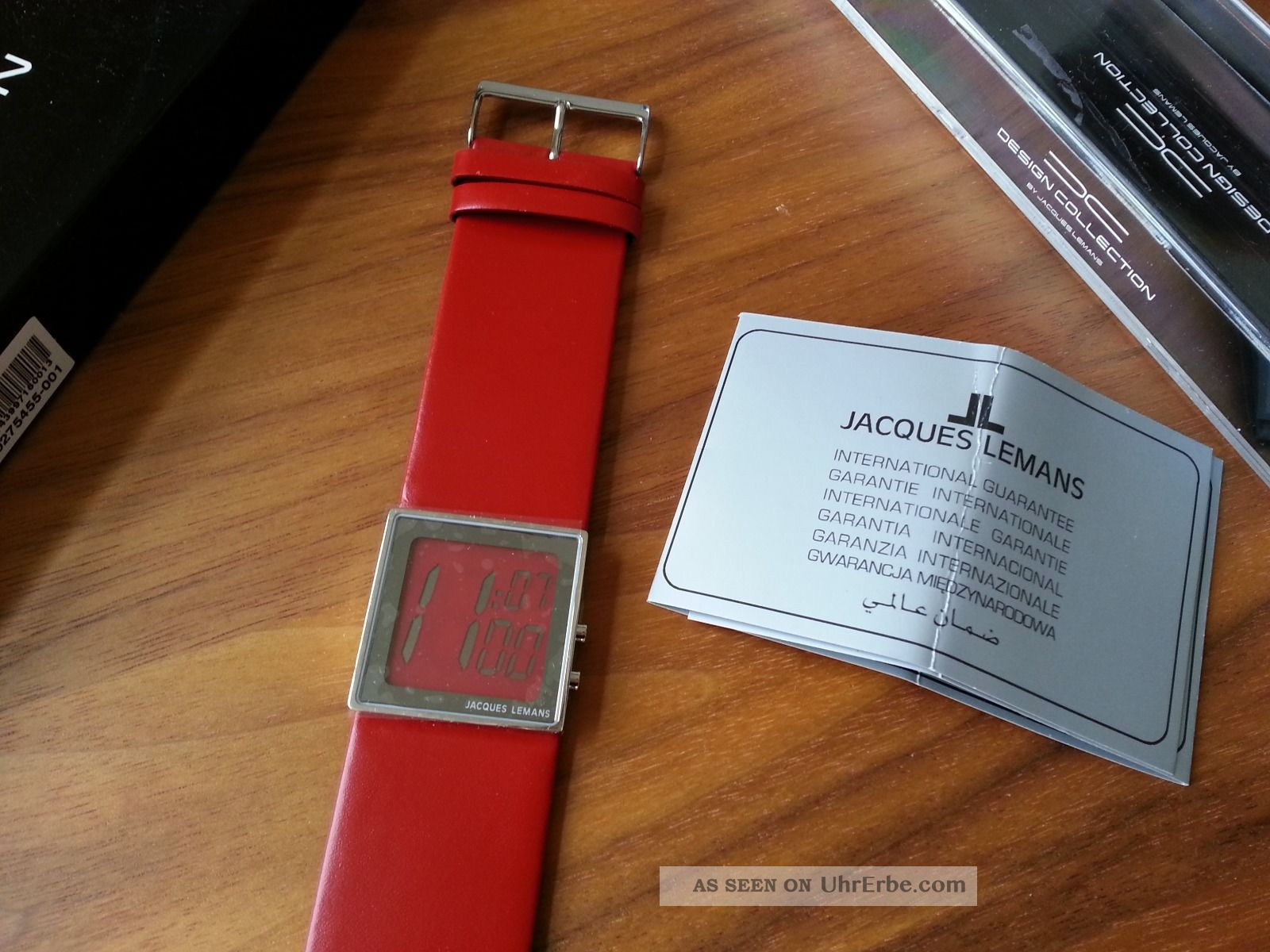 Jaques Lemans Eckige Fossil Damenuhr Rot Lederband Geschenk Uhr Armbanduhren Bild