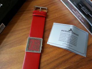 Jaques Lemans Eckige Fossil Damenuhr Rot Lederband Geschenk Uhr Bild
