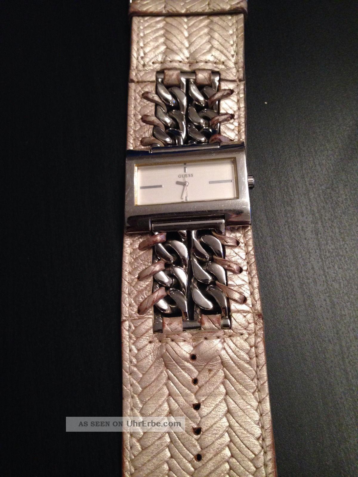 Guess Uhr Echtleder Kette Silber Beige Armbanduhren Bild