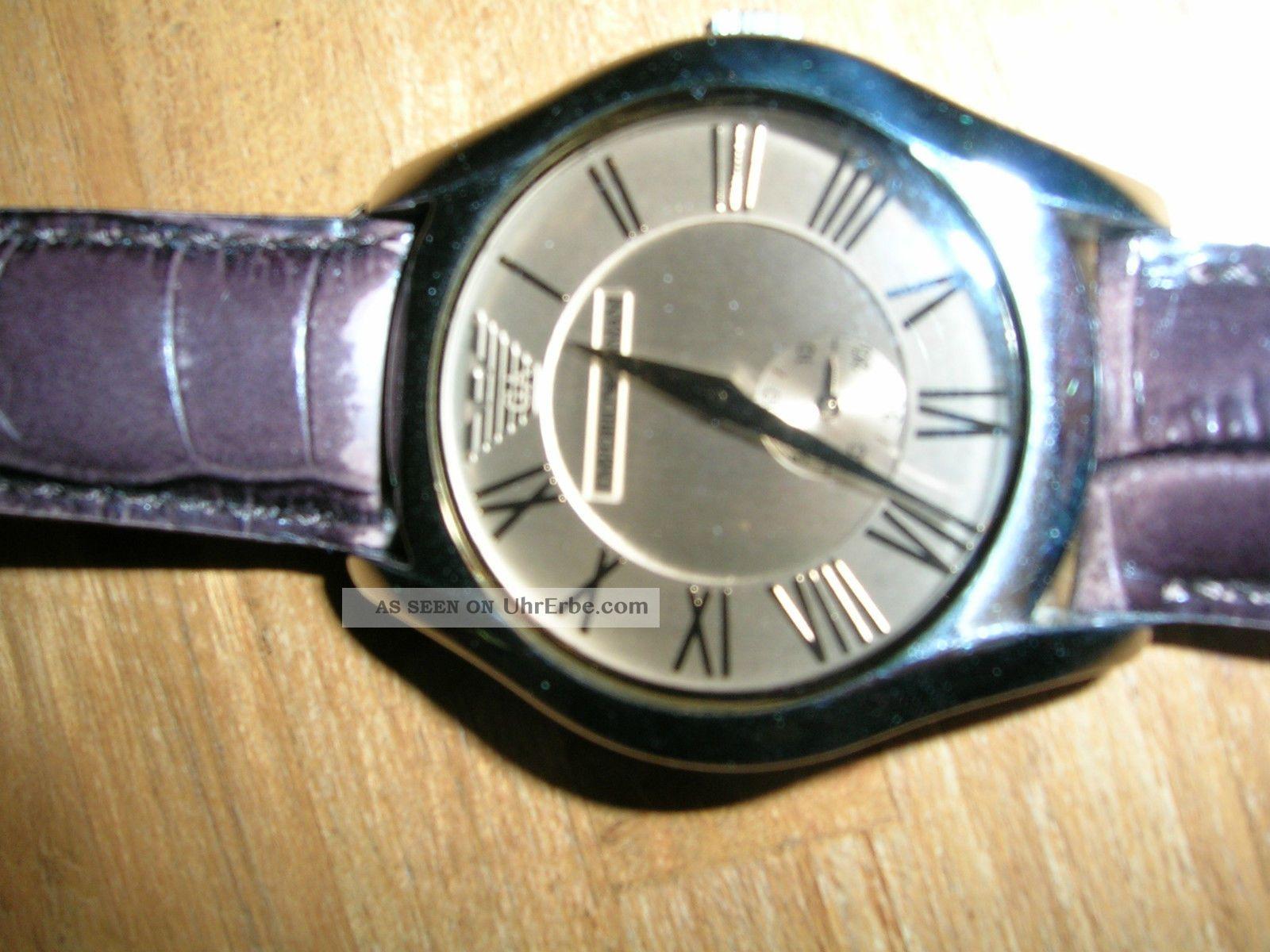 Emporio Armani Damen Armbanduhr Mit Braunem Lederarmband Armbanduhren Bild