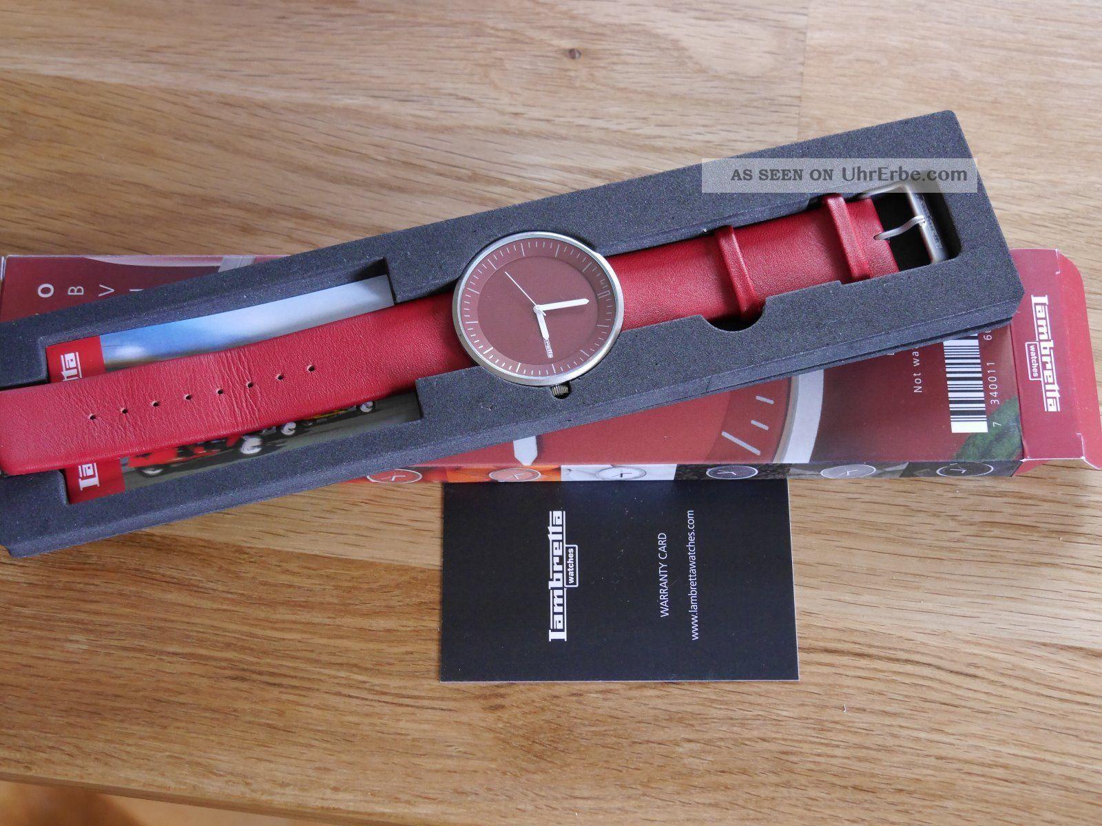 Lambretta Damen Armbanduhr Cielo Red (rot),  Lederarmband Armbanduhren Bild