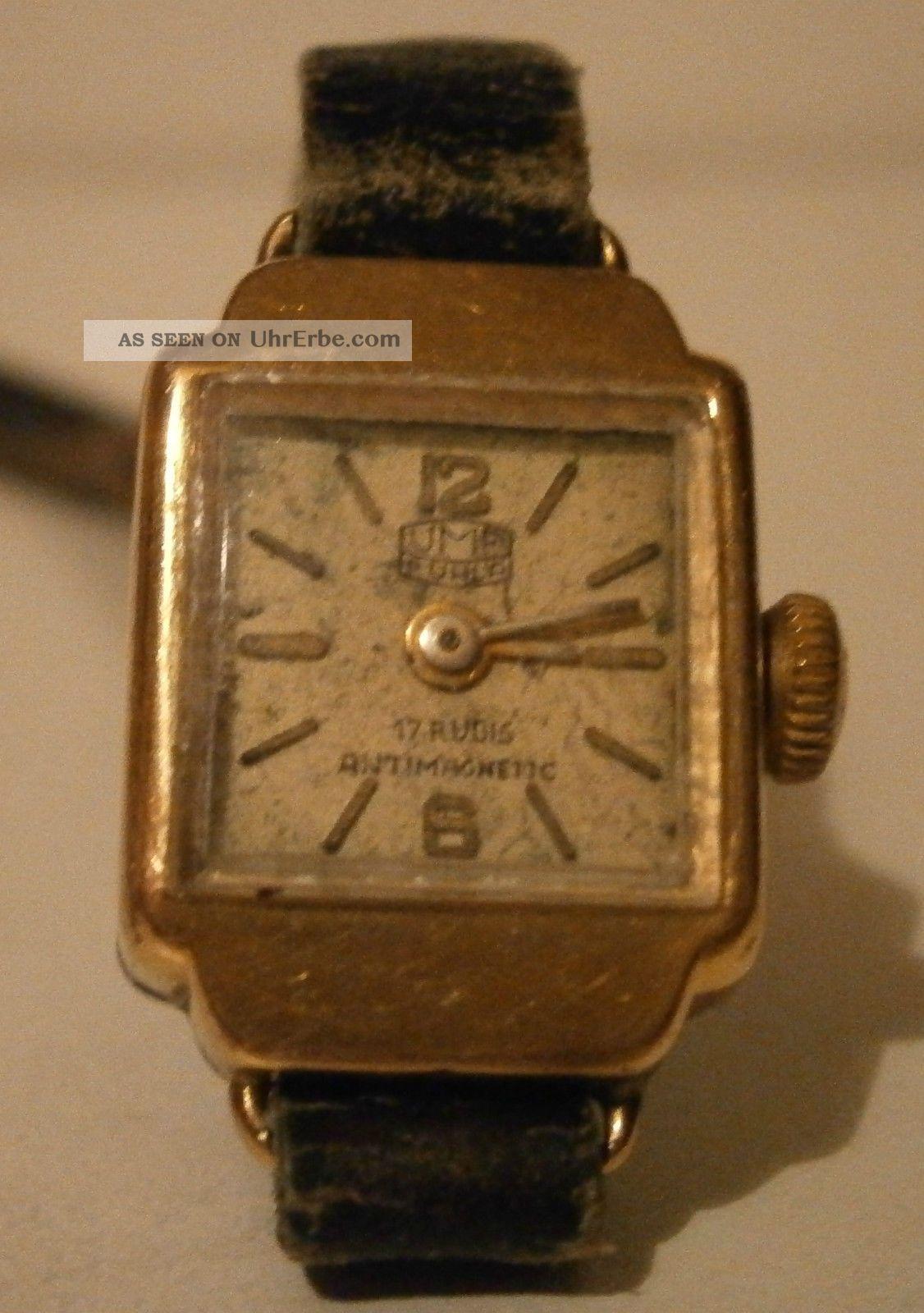 Antikschmuck Ddr Damenuhr Umf Ruhla 17 Rubis Armbanduhren Bild