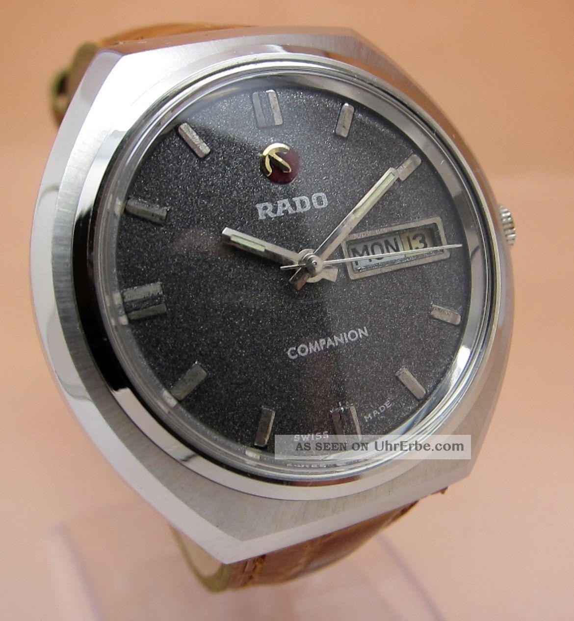 Rado Companion Glasboden Mechanische Uhr 17 Jewels Datum & Tag Lumi Zeiger Armbanduhren Bild
