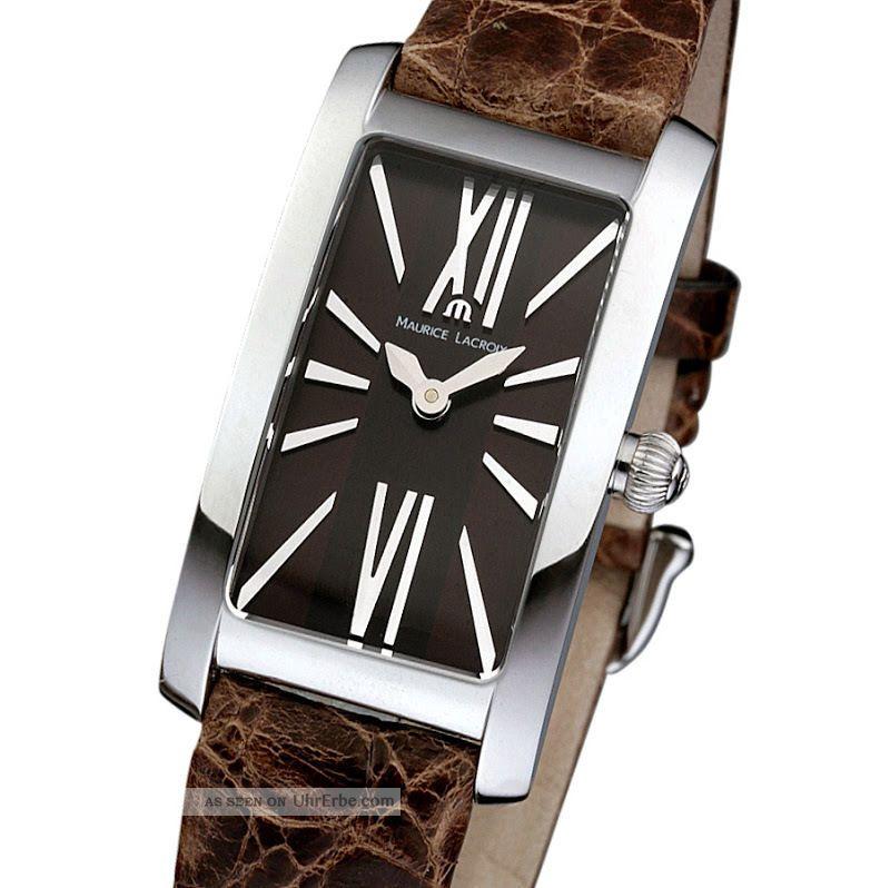 Maurice Lacroix Fiaba Damenuhr Krokoleder Ovp.  Chocolate Braun Ladies Watch Armbanduhren Bild