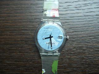 Swatch Watch Uhr Armbanduhr Bunt Blaues Zifferblatt Armband Datumsanzeige Bild