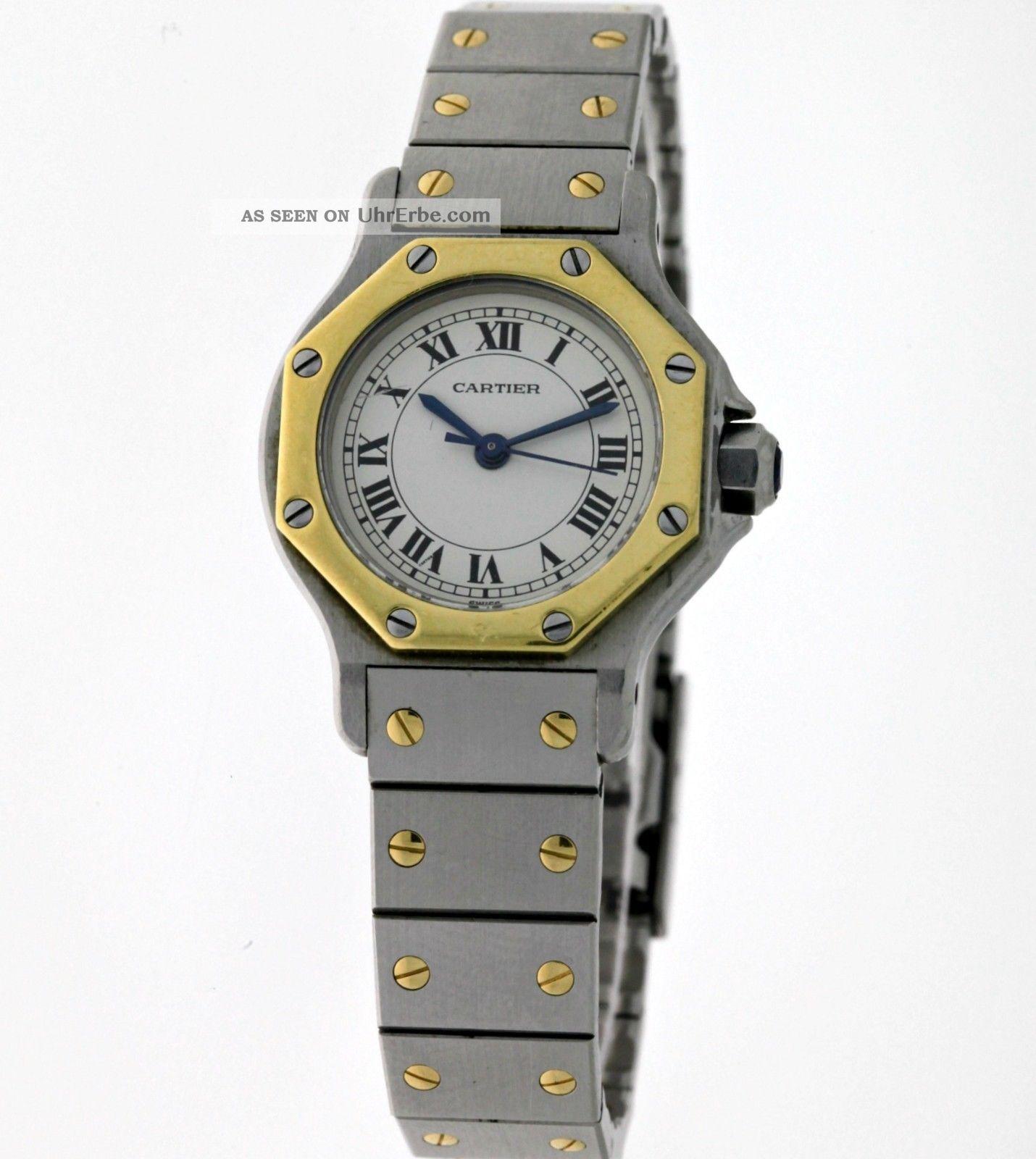 Cartier Santos Ronde Lady`s Automatik Edelstahl/18kt.  Gold Box&papiere - Damen Armbanduhren Bild