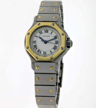 Cartier Santos Ronde Lady`s Automatik Edelstahl/18kt.  Gold Box&papiere - Damen Bild