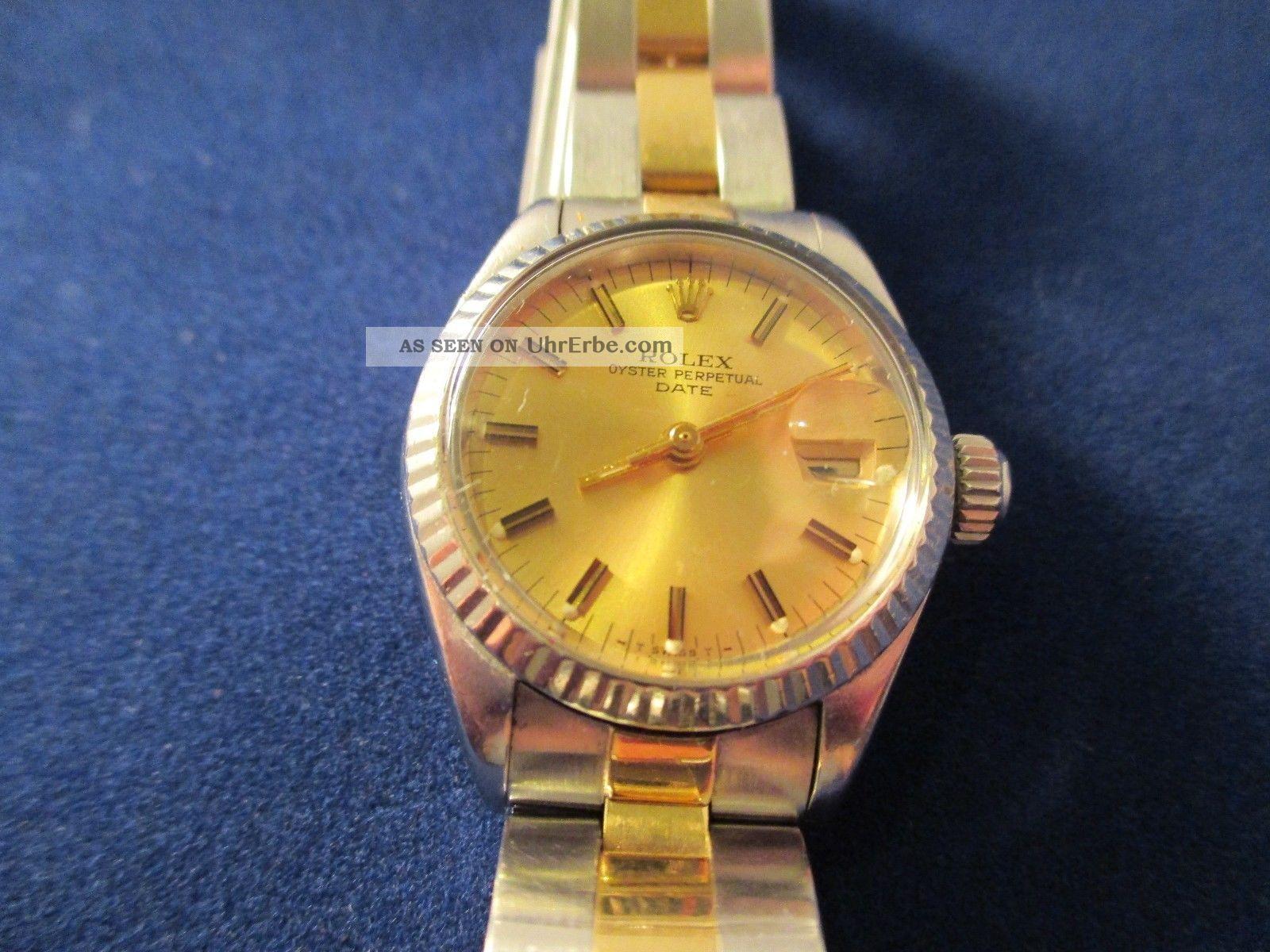 Rolex Orginal Oyster Perpetual Date Damenuhr Stahl/gold Armbanduhren Bild