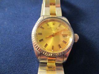 Rolex Orginal Oyster Perpetual Date Damenuhr Stahl/gold Bild