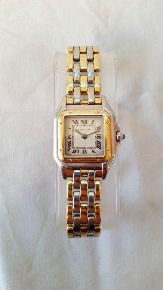 Cartier Santos Edelstahl/ - 750er Gelbgold 3 Reihen Gold Quartz Ca.  1990er Jahre Bild