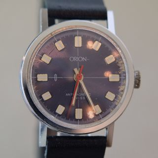 Blaue Sehr Hübsche Orion Herrenarmbanduhr Ca.  1970 - 1980,  Neues Band Bild