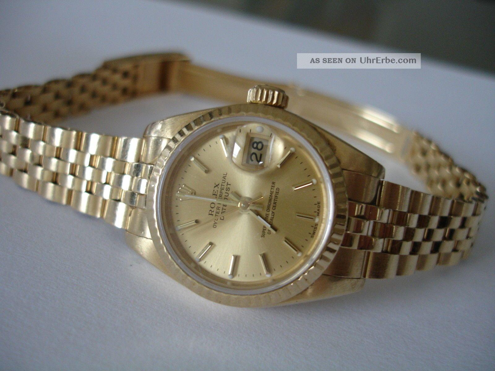 Rolex Datejust Lady 18kt Gold Uhr/ Watch 25mm Armbanduhren Bild
