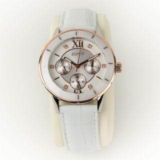 Esprit Damen Chronograph Armbanduhr Lederarmband Weiß Silber Gold Es900732002 Bild