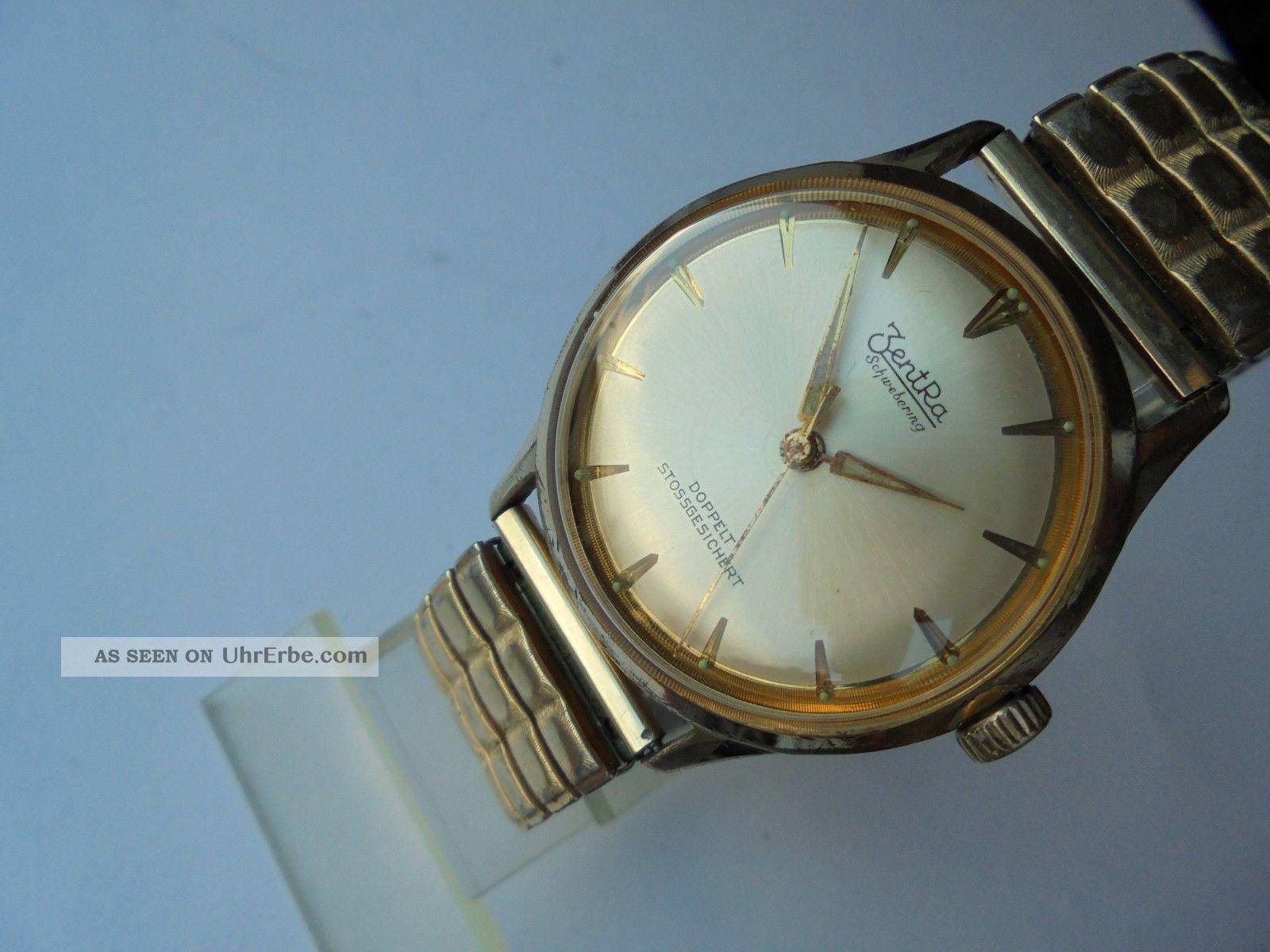 Interessante Ca.  60 Jahre Alte Zentra Schwebering Herrenuhr,  Kal.  Puw 60 - 61, Armbanduhren Bild