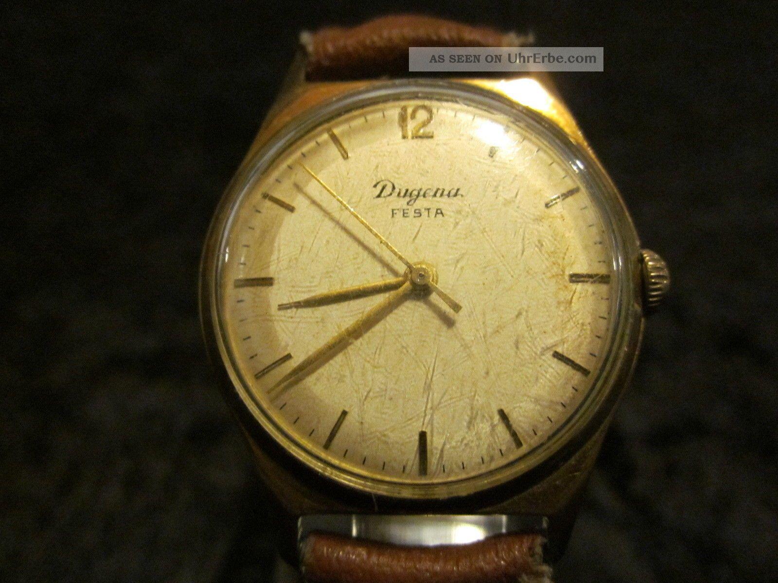 Dugena Festa Uhr Uhren Handaufzug Hau Deutschland Germany 20 Micron Gold Armbanduhren Bild