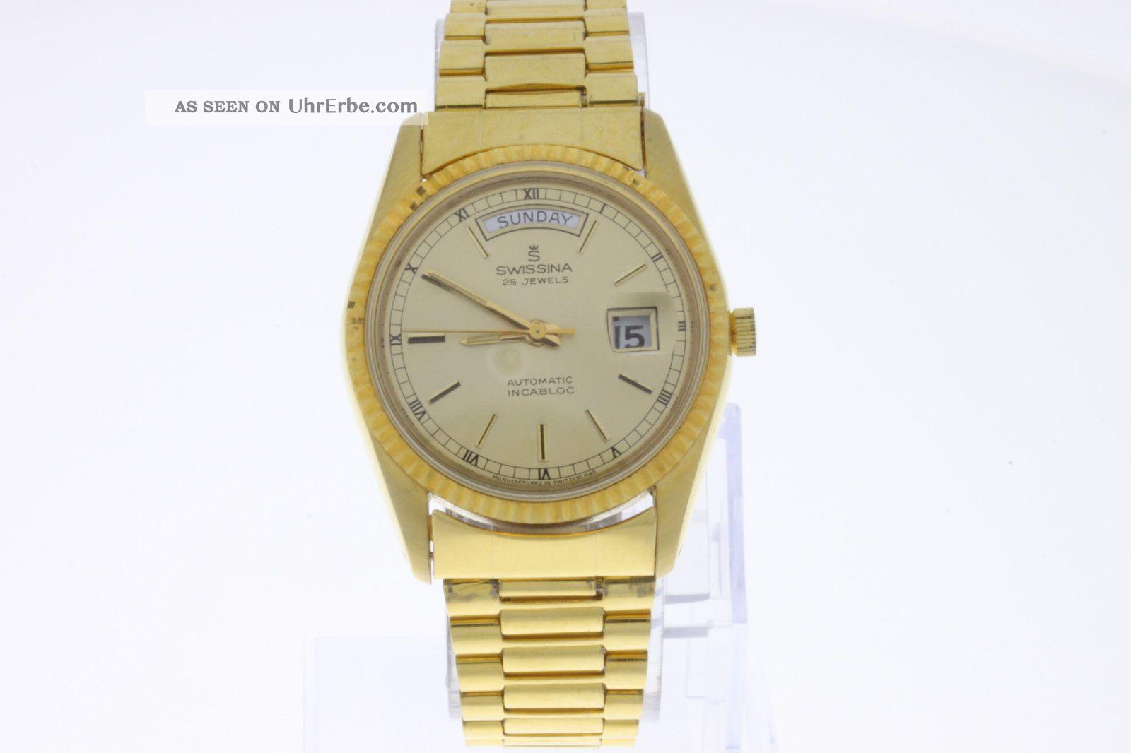 Swissina Day Date Automatic Incabloc Armbanduhr Vergoldet Old Stock Armbanduhren Bild