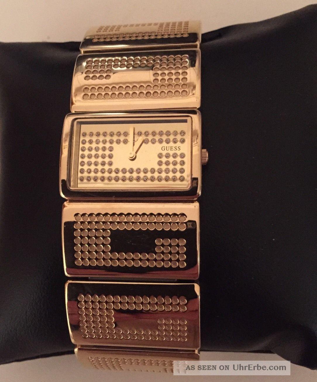 Guess Vergoldete Edelstahl Armbanduhr Für Damen G Boss W16548l1 M Strass Np 189€ Armbanduhren Bild