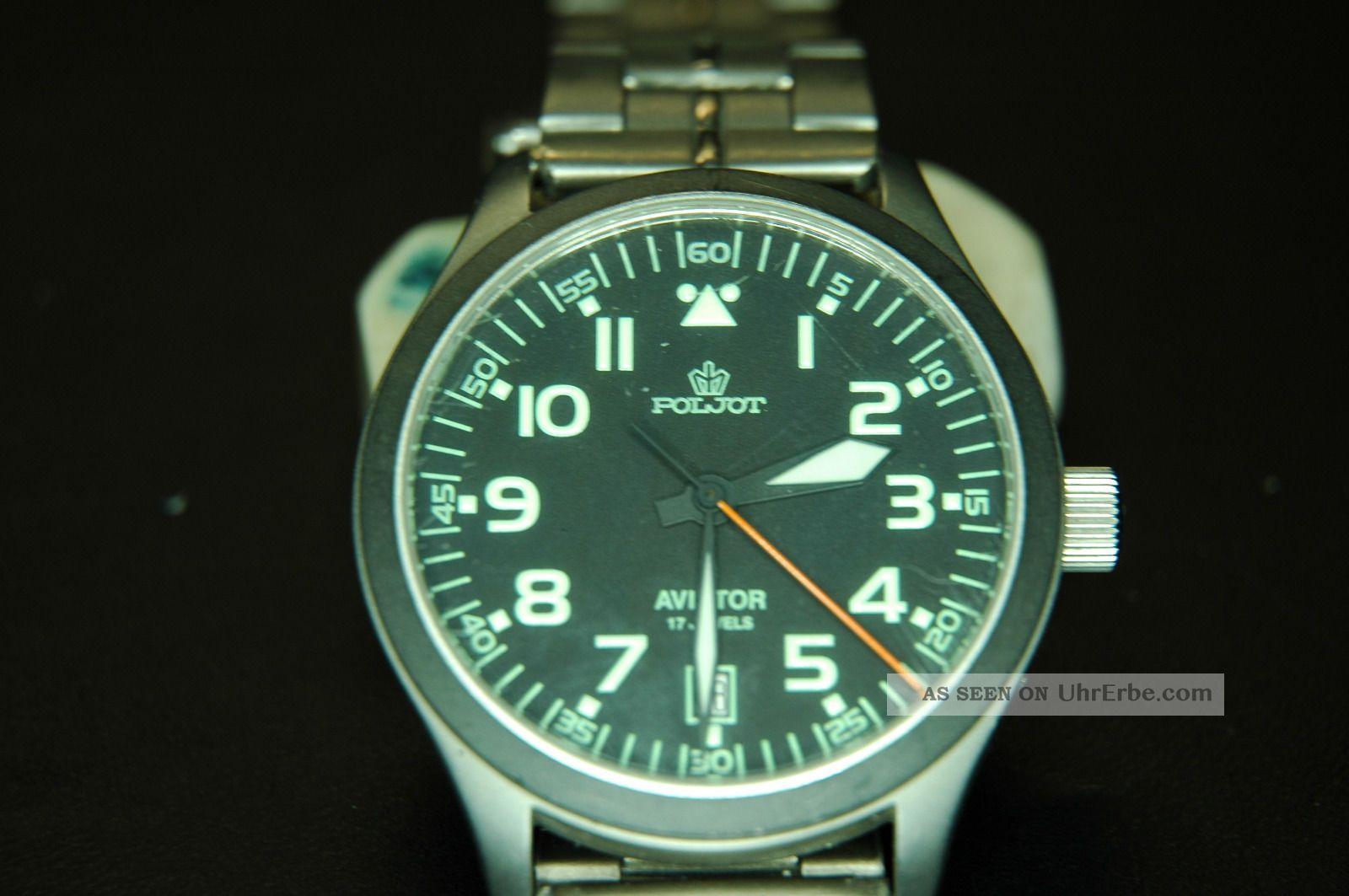 Armbanduhr,  Poljot,  Fliegerchrono,  Titanrmband,  Edelstahl - Gehäuse Armbanduhren Bild