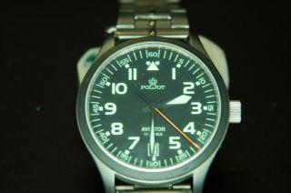 Armbanduhr,  Poljot,  Fliegerchrono,  Titanrmband,  Edelstahl - Gehäuse Bild
