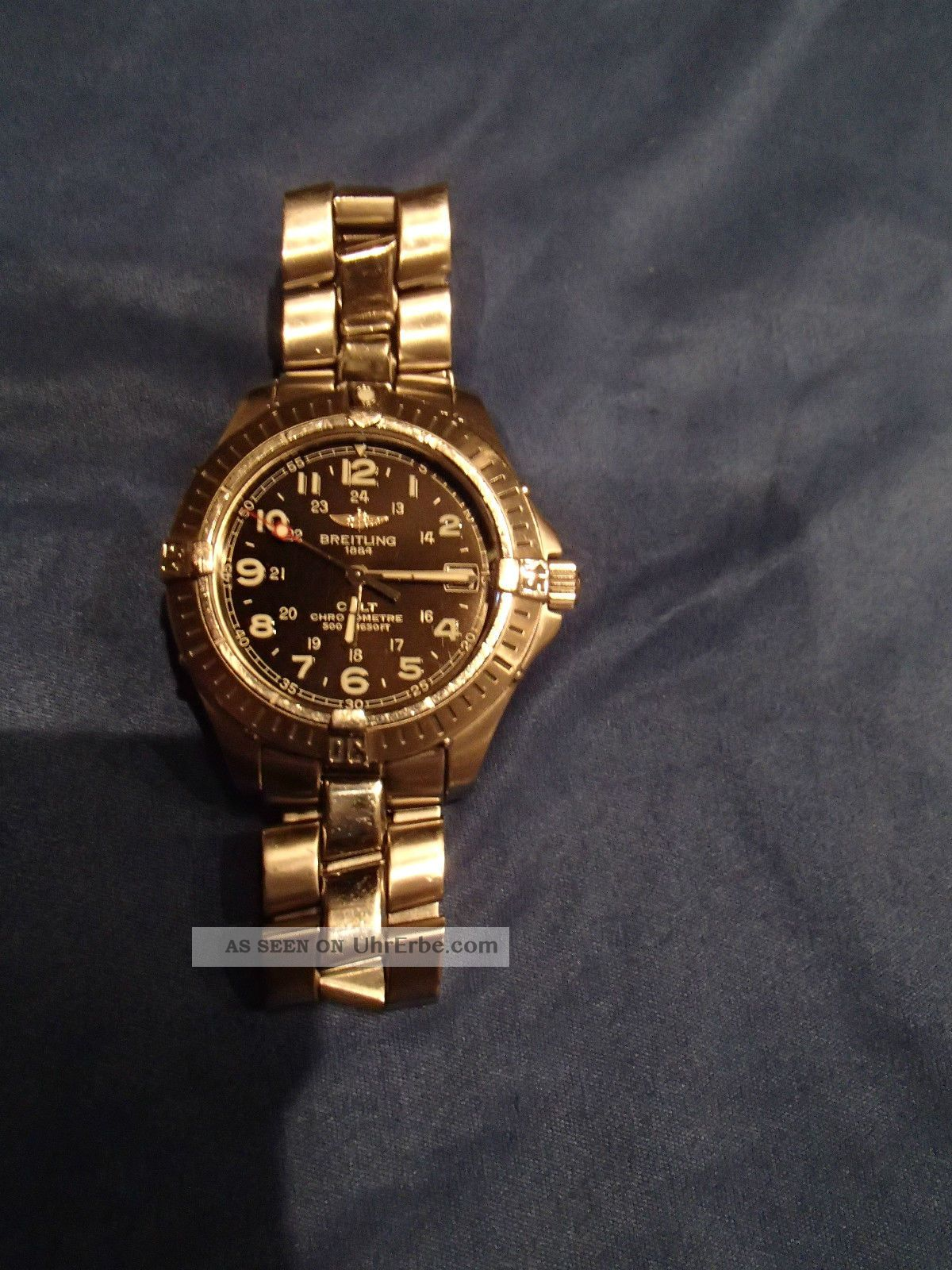 Breitling Colt Chronometre Quartz Schwarz Stahlarmband Armbanduhren Bild