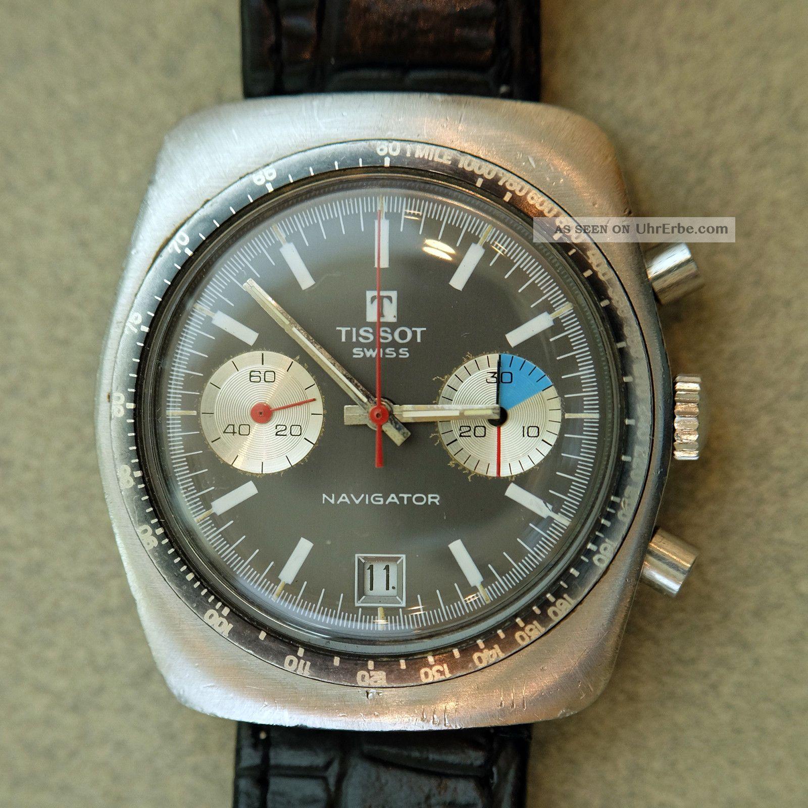 Tissot Navigator,  Valjoux 7734 Edelstahlgehäuse Oversize 70er Cult - Chronograph Armbanduhren Bild