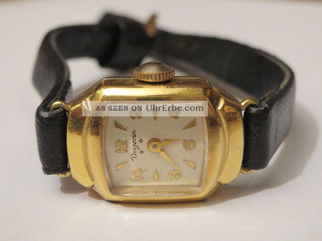 Klassische Dugena Damenuhr Tonneau Gehäuse 50er Jahre Tolles Weihnachtsgeschenk Armbanduhren Bild