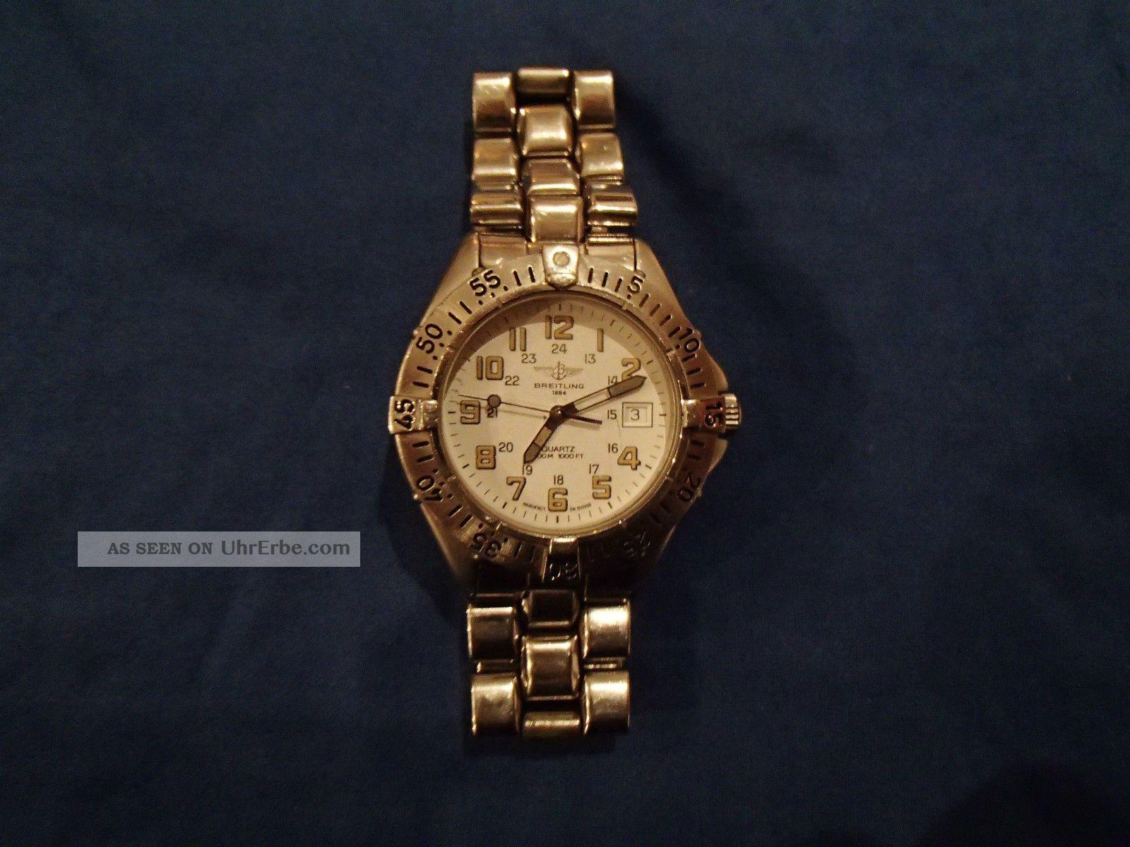 Breitling Colt Quartz Uhr Klassiker Weiss Stahlarmband Armbanduhren Bild