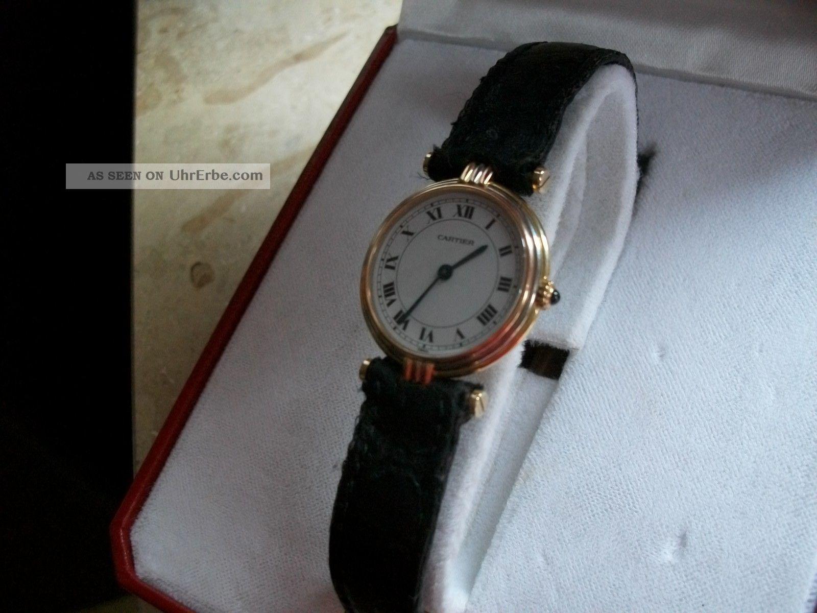 Cartier Vendome Damenuhr Gold 18k Tricolor Mit Faltschließe In Gold 18k Mit Box Armbanduhren Bild